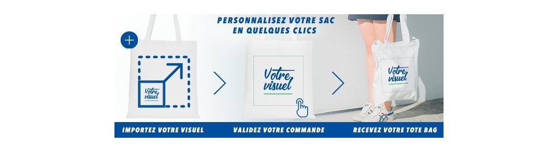 personnalisation de vos tote bag et objets publicitaires en ligne. Impression en France dans notre atelier