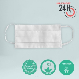 Le masque 100% coton blanc personnalisation en France par Bagart - Express 24H